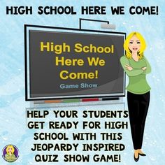 High School Here We Come Game Show Game, modeled after a popular prime time TV Quiz Show, helps talk to 8th grade classes about the transition from middle school to high school. It