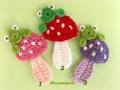 Aplique de Crochê Cogumelos - / Apply Crochet Mushrooms -