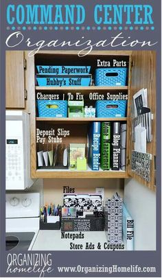 Kitchen command center Part one: http://www.organizinghomelife.com/archives/8820  Part Two: http://www.organizinghomelife.com/archives/8864