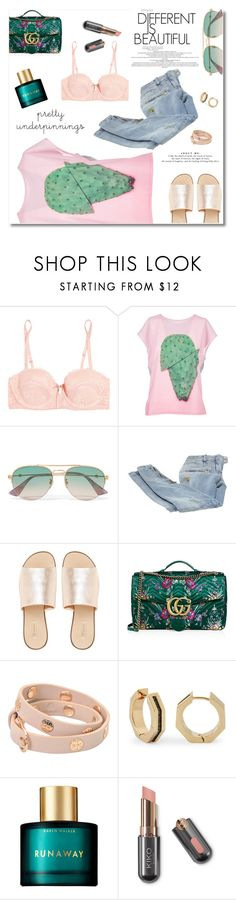 """""""About Me"""" by romaosorno ❤ liked on Polyvore featuring Heidi Klum, Paul Smith, Gucci, Balmain, L.E.N.Y., Tory Burch, Louise et Cie and Karen Walker"""
