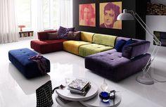 bunte Wohnlandschaft Reno 7066 | Diese Couch erstrahlt in den Farben Lila, Blau, Grün, Gelb sowie Rot und zieht damit alle Blicke auf sich. #MoebelLETZ