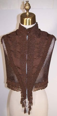 Victorian Brown & Bronze Beaded Cape Capelet    Front view.