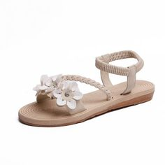 Item specifics Side Vamp Type: Open Heel Height: Flat With Platforms: No Heel Type: White Sandals, Open Toe Sandals, Beach Sandals, Flip Flop Sandals, Flip Flops, Cheap Sandals, Gladiator Heels, Ankle Strap Flats, Shoe Size Chart