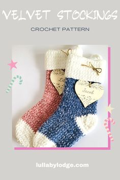 Super soft and snugly crochet velvet stockings. Free pattern by Lullaby Lodge... Crochet Patterns For Beginners, Easy Crochet Patterns, Crochet Ideas, Crochet Projects, Free Crochet, Crochet Top, Knitting Patterns, Diy Projects, Crochet Christmas Stocking Pattern
