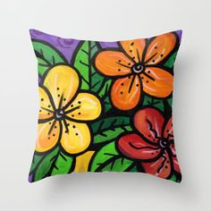 Whimsical Impatien Flowers Throw Pillow by claudineintner Floral Throw Pillows, Bright Colors, Art Decor, Whimsical, Colorful, Flowers, Painting, Bright Colours, Vivid Colors