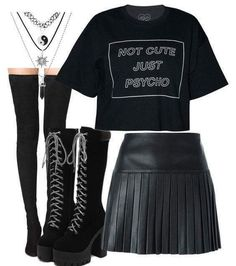 Psycho outfit ideas emo outfits, gothic outfits и fashion Cute Emo Outfits, Bad Girl Outfits, Teenage Outfits, Punk Outfits, Teen Fashion Outfits, Gothic Outfits, Mode Outfits, Grunge Outfits, Trendy Outfits