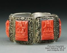 """Great old early 20th c. Chinese export silver and molded glass (""""Peking"""" glass) bracelet - excellent design!"""