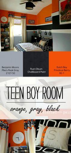 Orange-Gray-Black-Boy-Bedroom