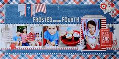 Double page layout as seen in the April edition of @Scrapbook Generation CREATE magazine using @Pebbles Inc. Americana collection created by @Suzanna Scraps