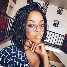 60 Totally Chic And Colorful Box Braids Hairstyles To Wear! Box braids are a timeless style because of their simplicity but ability to appeal to everyone. Check out our list of 60 box braids hairstyles for black women. Short Box Braids Hairstyles, Box Braids Bob, Medium Box Braids, Ethnic Hairstyles, Black Girls Hairstyles, Cool Hairstyles, Short Braids, Hairstyle Braid, Long Haircuts