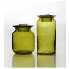 花器 玻璃 橄榄绿碱泡雪花章盖储物罐 多尺寸可选