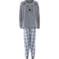 Two Piece Grey Teddy Motif Lounge Set