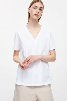 COS V-neck cotton t-shirt in White