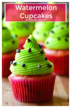 Watermelon Cupcakes are sweet, adorable and and the easiest sweet treat to make. Perfectly festive and fun, these Watermelon Cupcakes are the perfect dessert to share at all of your pool parties and summer BBQs. | A Wicked Whisk | https://www.awickedwhisk.com #watermeloncupcake #watermeloncake #summerfood #summerdesserteasy #cupcakeideas #partydesserteasy #cupcake via @awickedwhisk