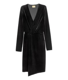 Black. Long-sleeved dress in velour with a V-neck. Sewn wrapover front section, elasticized seam at waist, and jersey lining.