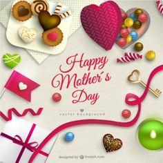 As mães Cartão do dia com doces
