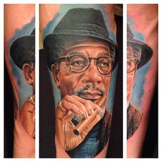 Phenominal Morgan Freeman Color Portrait Tattoo by Ink Master Randy Engelhard
