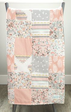 Baby Girl Nursery Blanket Blush Mint Grey Birds Floral Source by Quilt Baby, Baby Girl Quilts, Girls Quilts, Easy Baby Blanket, Crib Blanket, Baby Girl Blankets, Stroller Blanket, Pink And Gray Nursery, Mint Nursery