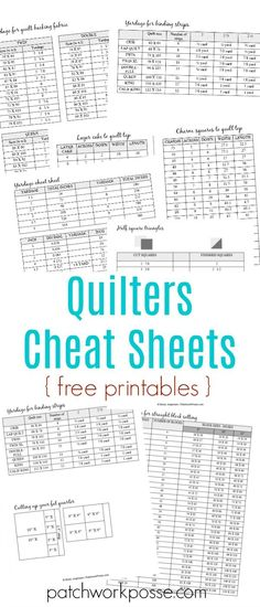 Having sewing printables cheat sheets allow you to do sewing properly. The goal of having the sheet is to let you sew properly without going back and forth to your smartphone or laptop and check a tutorial.Free printable charm squares and layer cake quilt Quilting For Beginners, Quilting Tips, Quilting Tutorials, Quilting Designs, Quilting Projects, Sewing Tutorials, Sewing Ideas, Art Quilting, Quilting Board