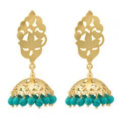Silver filigree and turquoise jhumkis  #jhumka #earring #zri