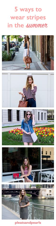 5 ways to wear stripes - vertical stripes, off the shoulder top, casual dress, bright tank top and ruffle dress