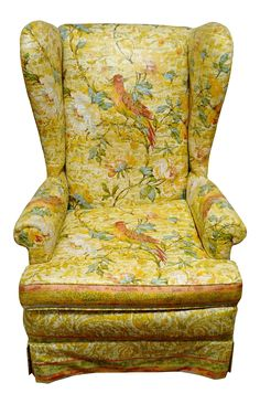 "Beautiful high back mid century wing chair. Upholstered in a floral and bird chintz fabric. Excellent vintage condition.  Arm HT 22 1/2"" Seat HT 17 1/2"" Seat Depth 21"" Seat width 21"""