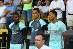 Riechedly Bazoer of Ajax, Anwar El Ghazi of Ajax, Kenny Tete of Ajax during the Dutch Eredivisie match between Go Ahead Eagles and Ajax Amsterdam at The Adelaarshorst on August 28, 2016 in Deventer, The Netherlands