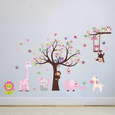 Fancy Wandtattoo Wandsticker XXL Deko Tiere Kinder Affe Kinderzimmer Wald Baum Amazon de K che u Haushalt Wandaufkleber Pinterest Deko