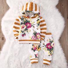 Striped Mustard Floral Hoodie Set