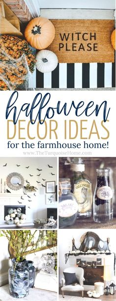 The BEST Halloween Decorations for the farmhouse home! Ideas from decor to DIY projects and where to find the cutest stuff! It's all here - and it's not a bunch of orange decor either! It'll look beautiful in your farmhouse-style home.
