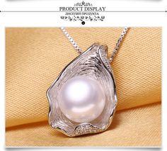 8,98 au lieu de 87$ Véritable perle naturelle pendentif collier, Perles d'eau douce argent Choker collier femmes 2015 nouveau Pearl (86$) 8$