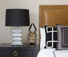 Bedroom Bliss for a bachelor. Interior Designer: Jill Sorensen, Marmalade Interiors. Leather, bold, neutral palette. Bedroom, headboard, master bed, decor, interior decorating, makeover, design