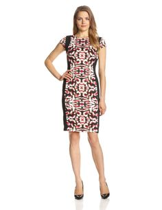 Cap-Sleeve Side-Panel Sheath Dress by Maggy London