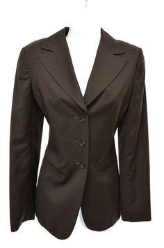 Calvin Klein Womens 6 Brown Fitted Long Sleeve Suit Blazer Jacket | eBay SB $10.99!