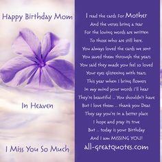 Happy Birthday Dear Mother In Heaven Cards