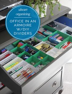 UHeart Organizing: Office in an Armoire (With DIY Paper Drawer Dividers!) | IHeart Organizing | Bloglovin