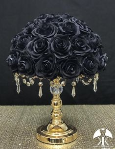 BLACK ROSE ARRANGEMENT. Wedding Centerpiece Arrangement. Black Centerpiece. Black Wedding. Pick Rose Color!! 14 SIZE PICTURED With BLACK ROSES. Silver and Gold Crystal Stands Sold Separately. These beautiful roses have a real feel and look to them. Why spend thousands on real roses that are thrown Cream Roses, Blush Roses, Purple Roses, Black Centerpieces, Wedding Centerpieces, Bling Wedding, Rose Wedding, Aqua Wedding, Geek Wedding