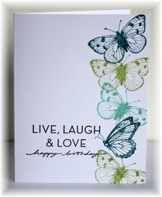 Scrappin' and Stampin' in GJ. Butterflies are from Hero Arts. Sentiment from SU. Colors- Indigo, limeade & pool party.