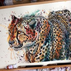 'On the Prowl, A2, Watercolour and Fineliner painting of a Cheetah. This painting is currently for sale, with all proceeds being donated to the UK registered charity Helping Rhinos so we can continue in our fight against poachers!! For more pet portrait and wildlife paintings please follow me on facebook! Just search Tori Ratcliffe Art!