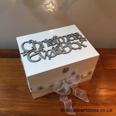 White wooden Christmas Eve Box with silver glitter topper - make every child or adult's Christmas wishes come true! Christmas Eve Box For Adults, Wooden Christmas Eve Box, Xmas Eve Boxes, Its Christmas Eve, Christmas Wishes, All Things Christmas, Kids Christmas, Christmas Presents, White Christmas