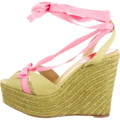 Pre-owned Christian Louboutin Espadrille Wedges ($275) ❤ liked on Polyvore featuring shoes, sandals, green, espadrilles shoes, green sandals, wedge heel sandals, bow tie shoes and tie sandals
