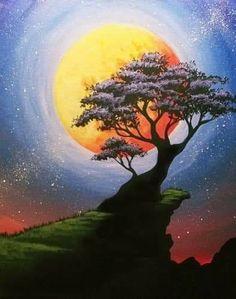 Bonzai Moon at Soda Jerks Namao Center – Paint Nite Events near Edmonton, AB> - paint and art Pastel Art, Acrylic Art, Simple Acrylic Paintings, Tree Art, Painting Inspiration, Painting & Drawing, Moon Painting, Landscape Paintings, Amazing Art