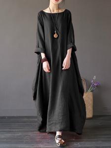 Round Neck Pocket Plain Maxi Dress                      – Stylishplus