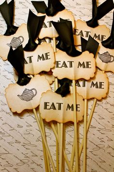 Vintage Inspired Eat Me Cupcake Toppers  Set by JacquelynVaccaro, $20.00