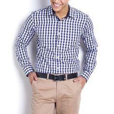 Chemise à carreaux coupe ajustée col pointes libres, Edeis (40e)
