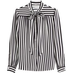 Philosophy di Lorenzo Serafini Striped Blouse ($305) ❤ liked on Polyvore featuring tops, blouses, shirts, stripes, white stripes shirt, shirt blouse, white shirts, white striped top and stripe shirt