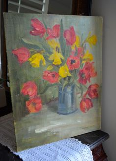 ORIGINAL OIL PAINTING Red Tulip and Yellow Daffodil Original Artwork Spring Bouquet Canvas on Masonite Shabby Unframed Signed Work of Art by StudioVintage on Etsy https://www.etsy.com/listing/223453113/original-oil-painting-red-tulip-and