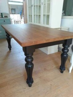 Items similar to Modern Victorian Dining Table, 6 - 8 seater farmhouse table, Shabby country family dining. Victorian Dining Tables, Dinning Room Tables, Table And Chairs, Black Dining Room Table, Black Table, Dining Rooms, Farmhouse Kitchen Tables, Painted Farmhouse Table, Kitchen Table Redo