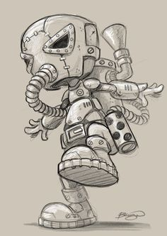 A collection of sketches, characters and toy design based on my love of the Steampunk genre - toys Dark Art Drawings, Art Drawings Sketches, Cool Drawings, Pencil Art Drawings, Graffiti Art, Graffiti Drawing, Cartoon Sketches, Cartoon Art, Doodle Art