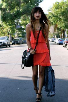 pretty dress made casual with denim jacket